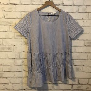 NWOT Pleione pin striped baby doll top